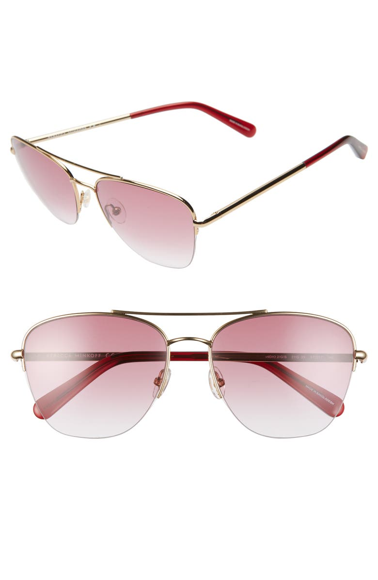 REBECCA MINKOFF Indio2 57mm Aviator Sunglasses, Main, color, GOLD/ PINK GRAD