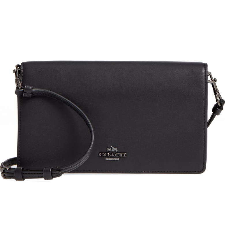 Calfskin Leather Foldover Convertible Clutch, Main, color, BLACK