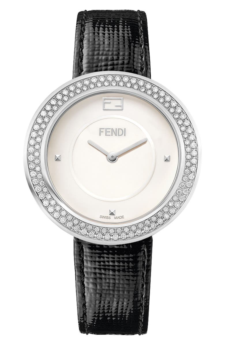 FENDI My Way Genuine Fox Fur Leather Strap Watch, 36mm, Main, color, 100