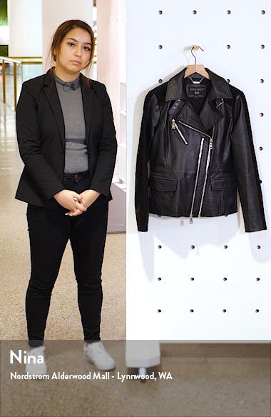 Suede Detail Leather Moto Jacket, sales video thumbnail