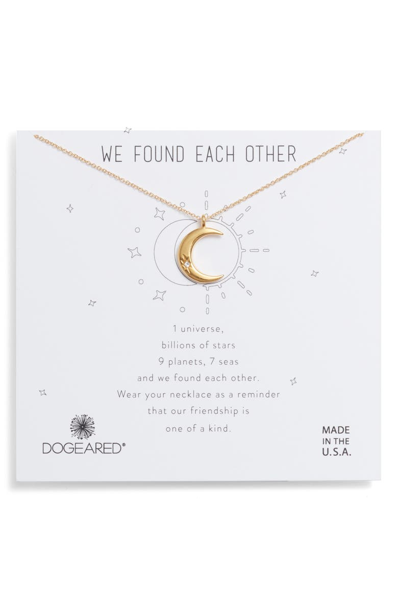 DOGEARED We Found Each Other Crescent Pendant Necklace, Main, color, GOLD