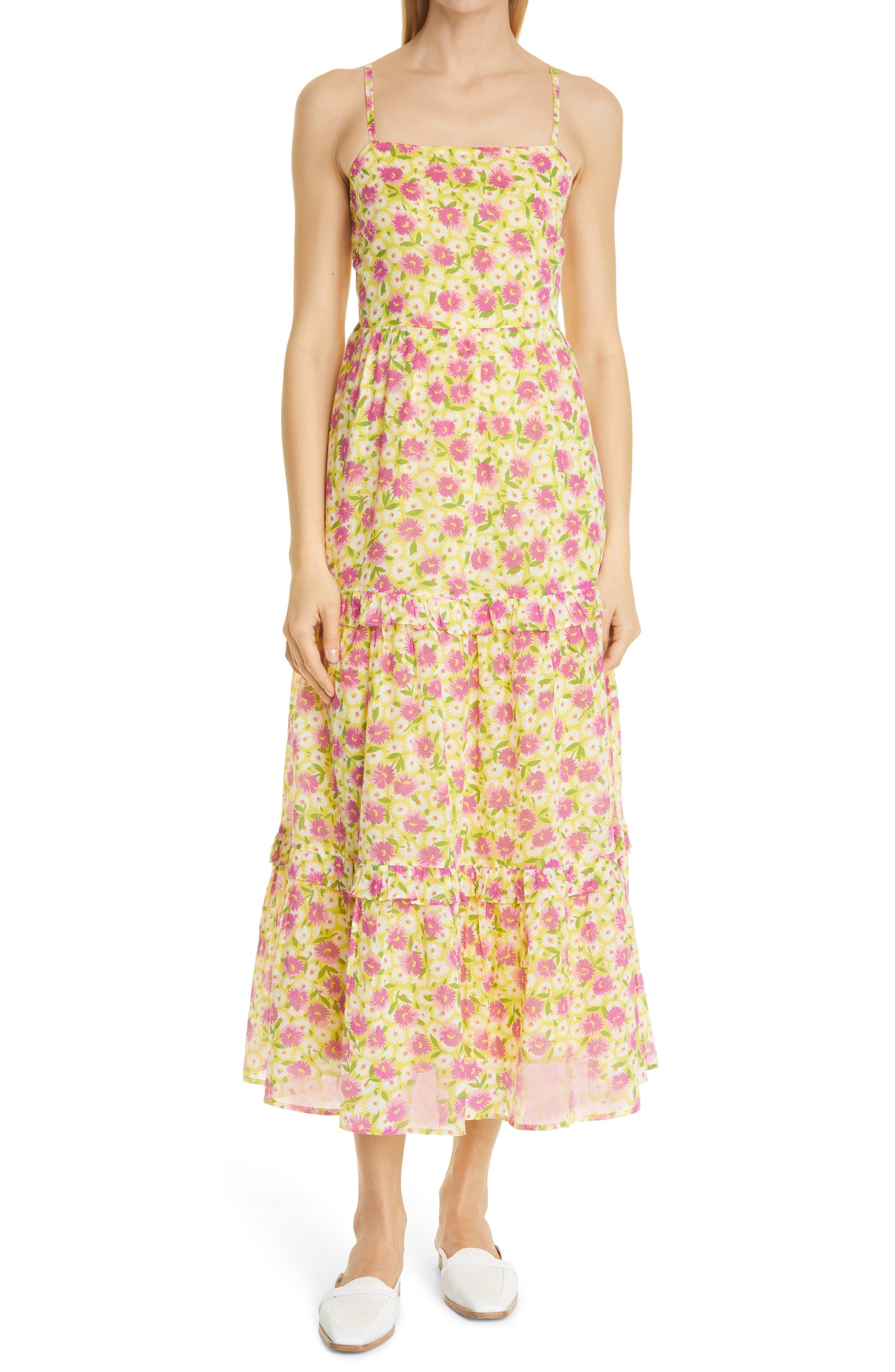 Hazel Floral Ruffle Cotton Midi Sundress