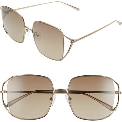 Diff Frankie 5m Square Sunglasses - Brushed Gold/ Brown