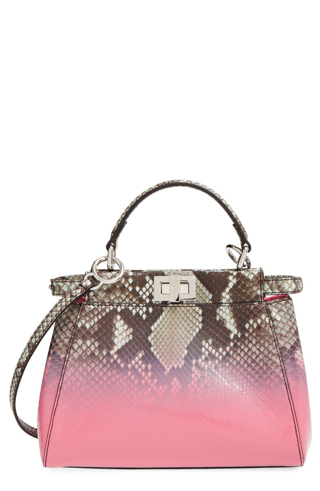 'Mini Peekaboo' Dipped Genuine Python Crossbody Bag, Main, color, 600