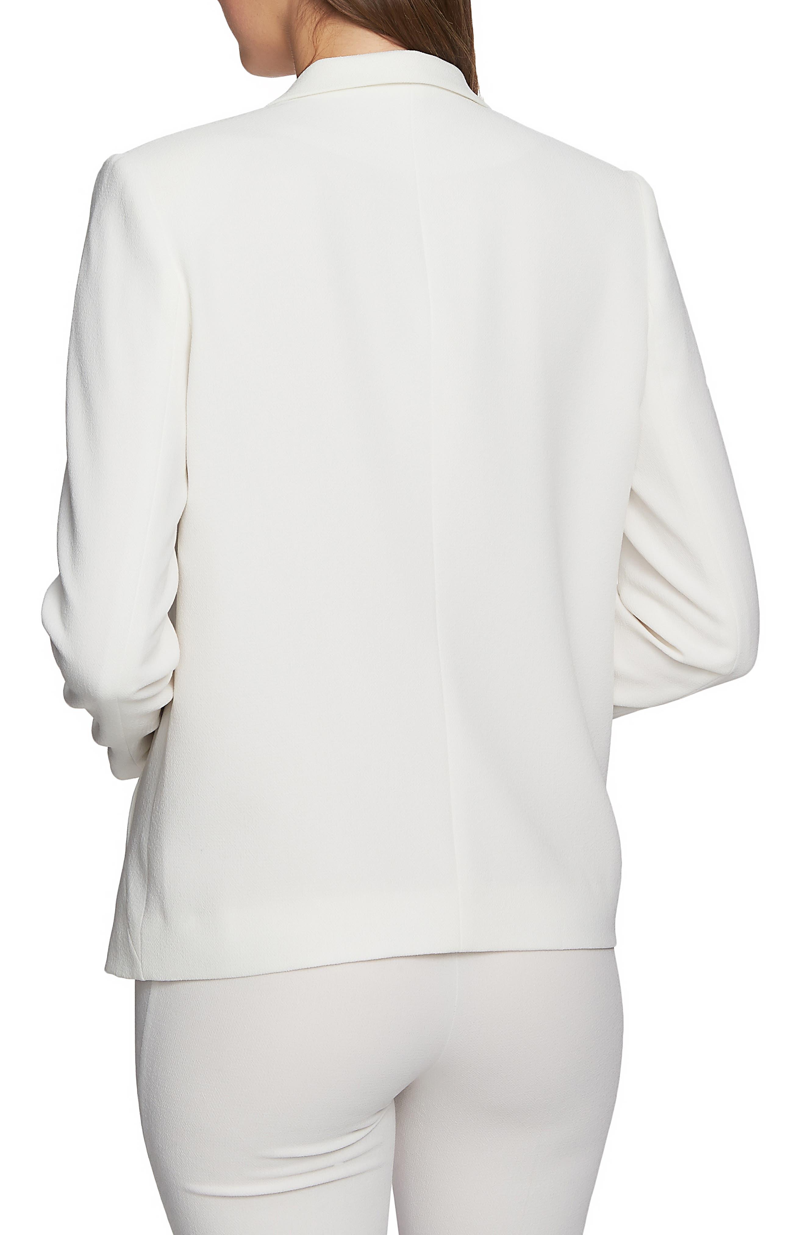 ,                             Textured Crepe Single Button Blazer,                             Alternate thumbnail 2, color,                             SOFT ECRU