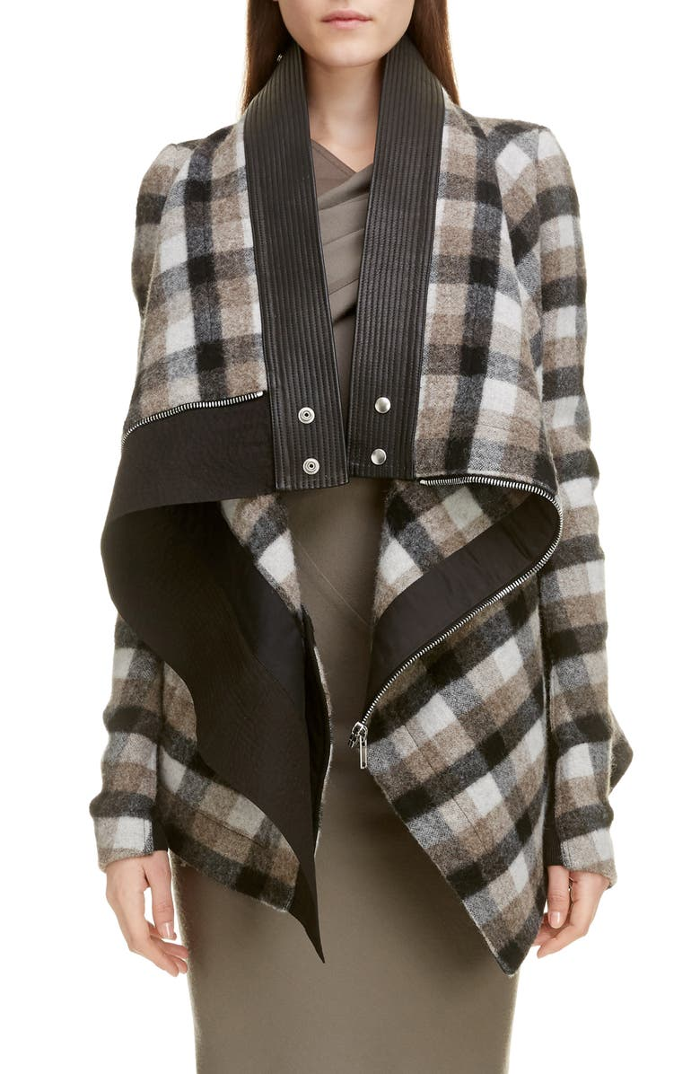 RICK OWENS Exploder Check Drape Wool Jacket, Main, color, PLAID