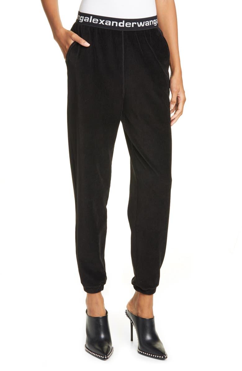 ALEXANDERWANG.T Logo Stripe Corduroy Pants, Main, color, BLACK