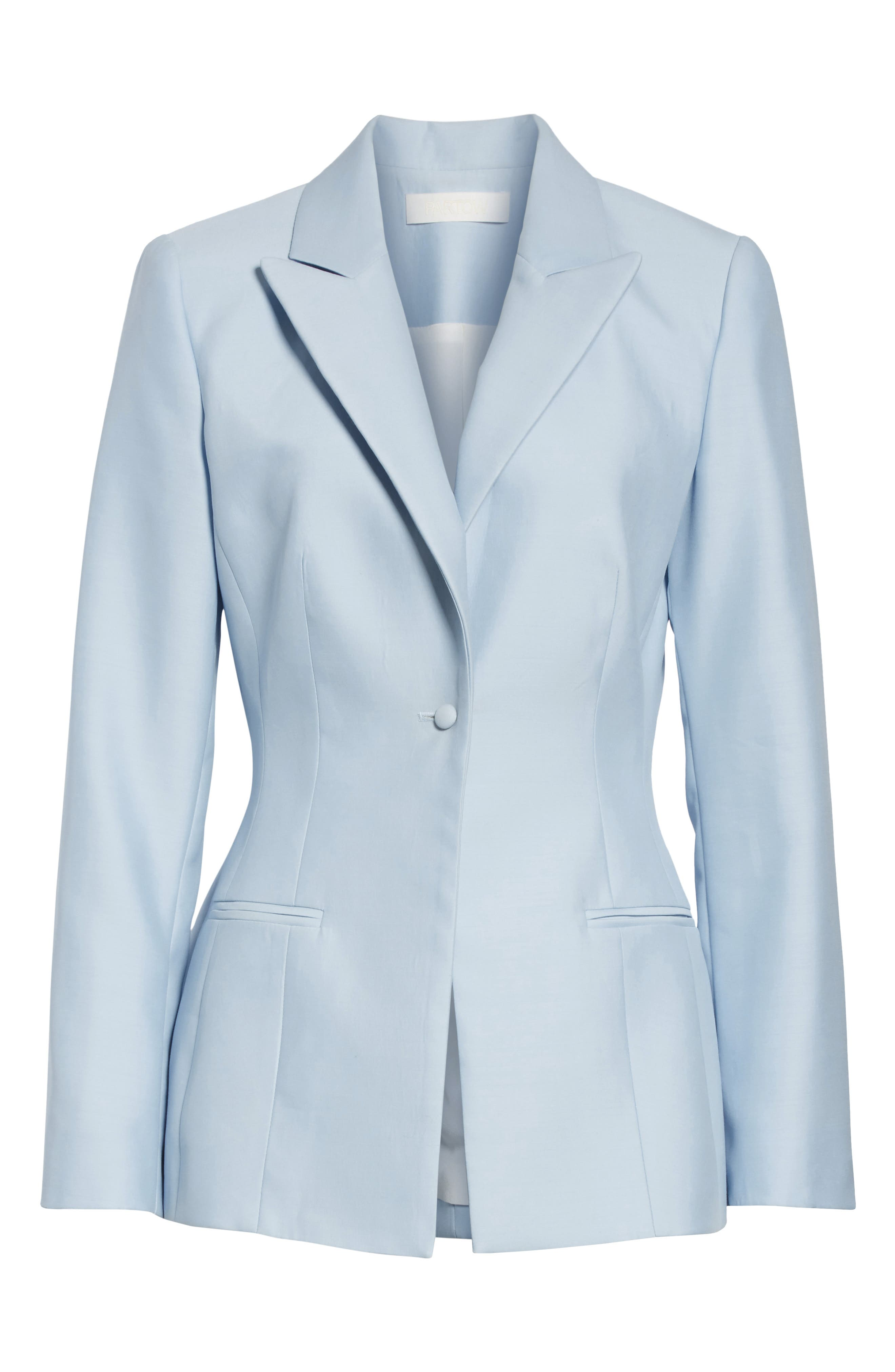 ,                             One-Button Wool & Silk Jacket,                             Alternate thumbnail 6, color,                             PALE BLUE