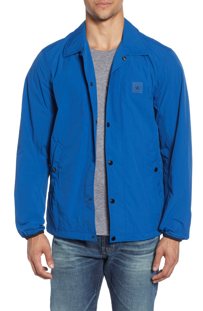 RAG & BONE Flight Regular Fit Nylon Coach's Jacket, Main, color, BLU