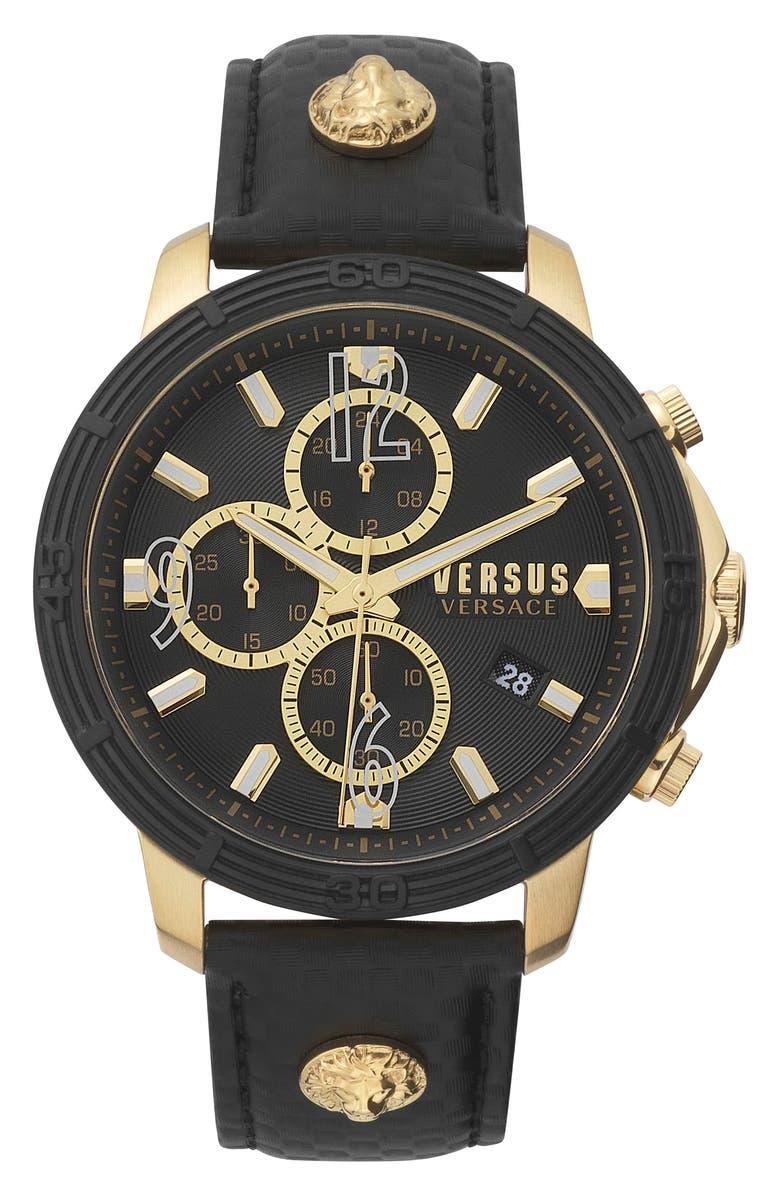 VERSUS VERSACE Bicocca Leather Strap Watch, 46mm, Main, color, BLACK/ GOLD