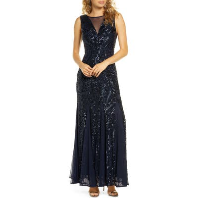 Morgan & Co. Sequin Mesh Godet Gown, Blue