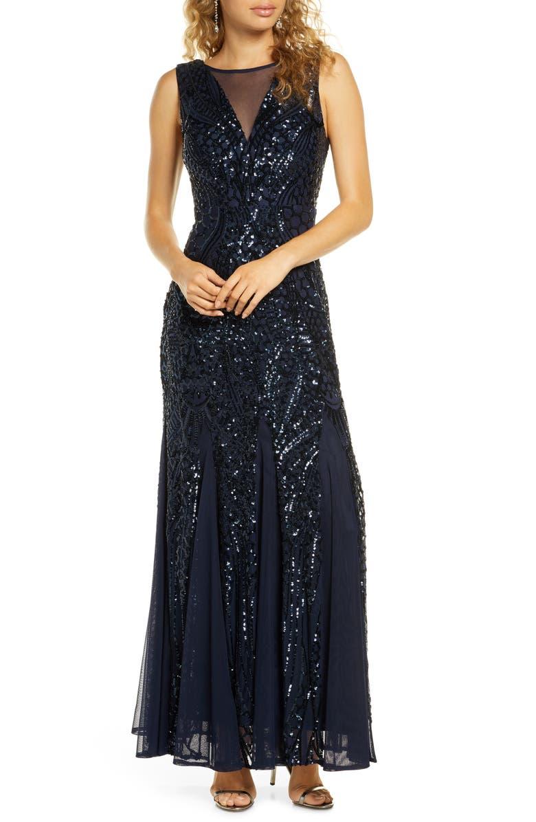 MORGAN & CO. Sequin Mesh Godet Gown, Main, color, NAVY