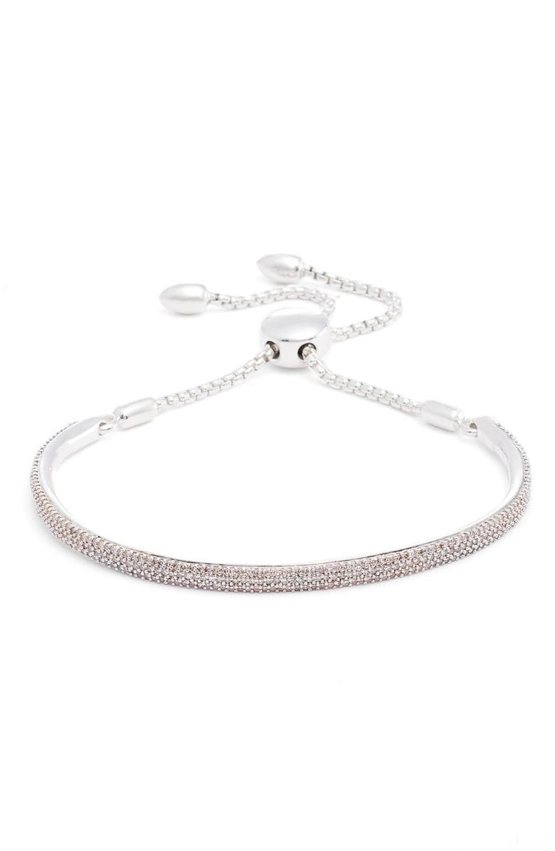 MONICA VINADER Stellar Pavé Diamond Mini Bar Bracelet, Main, color, SILVER