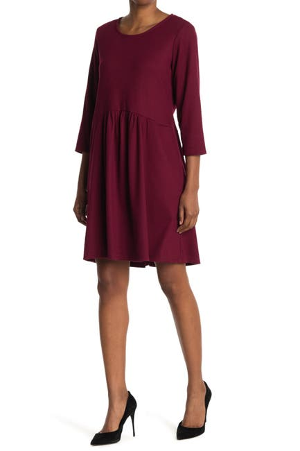 Image of TASH + SOPHIE Long Sleeve Ribbed Shirred Dress