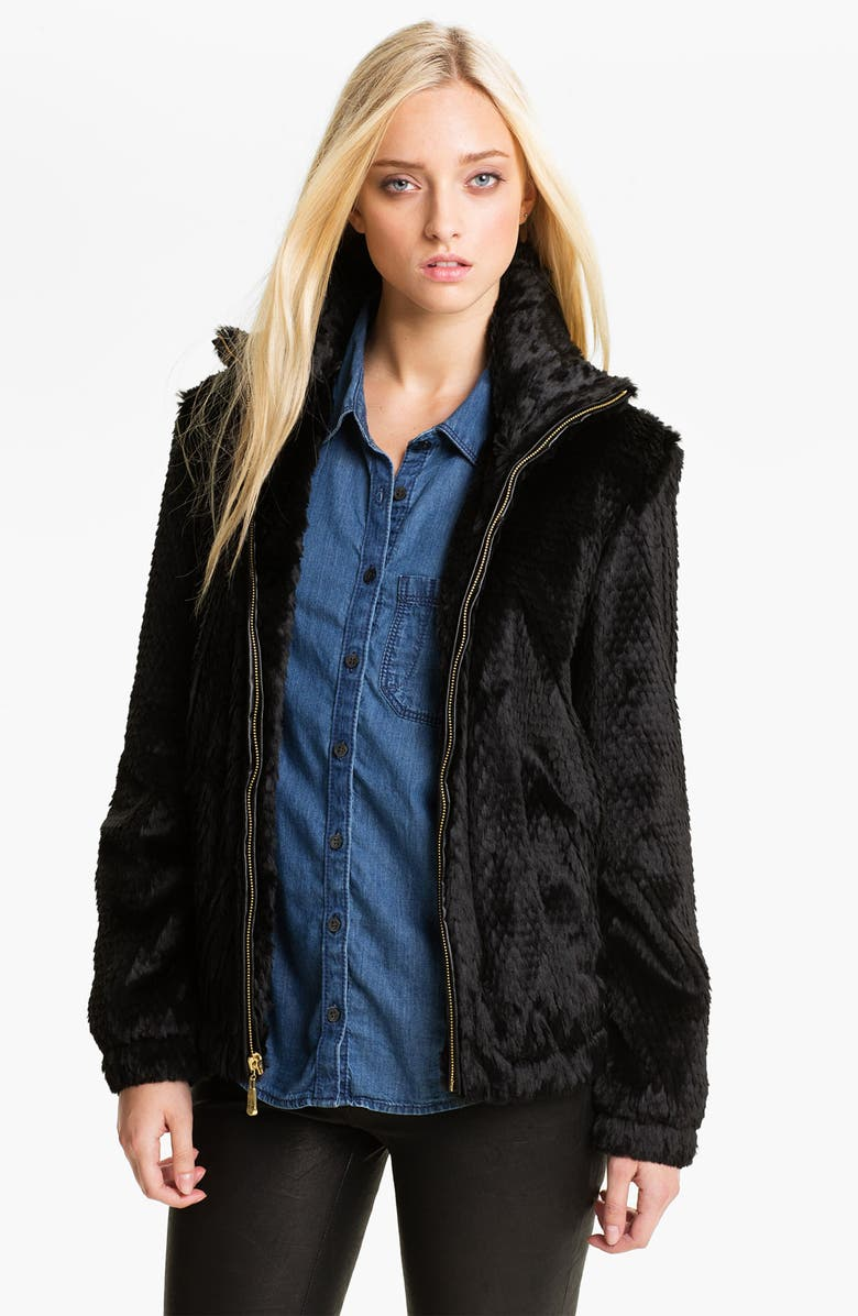 ELLEN TRACY Faux Fur Bomber Jacket, Main, color, 001