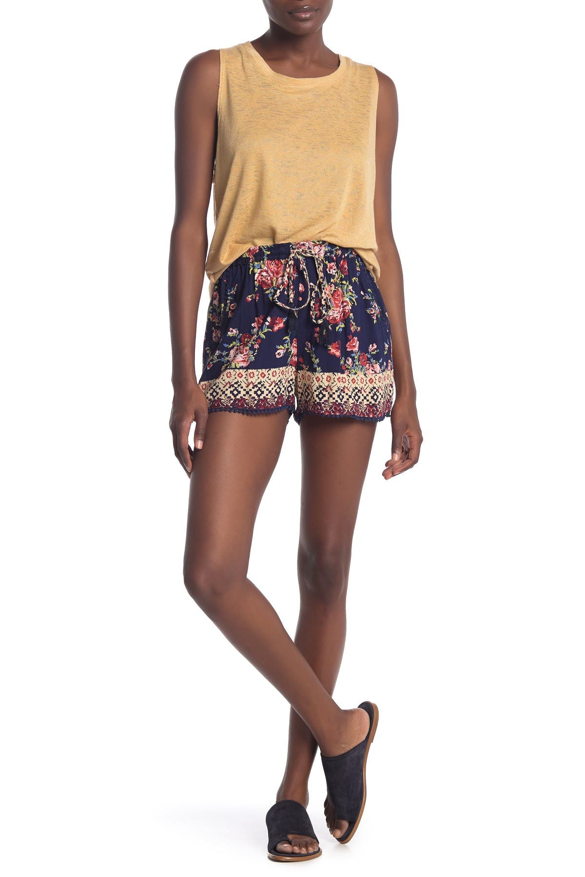 Image of Angie Floral Print Crochet Trim Drawstring Shorts