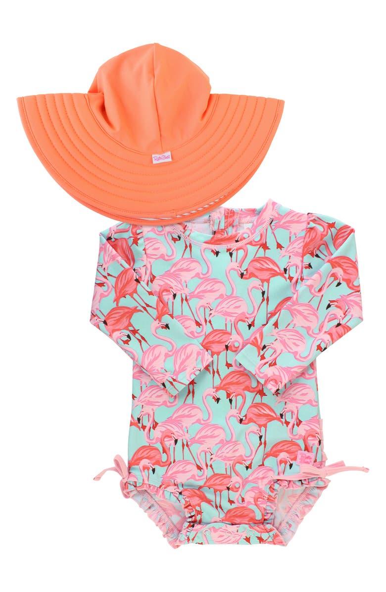 RUFFLEBUTTS Flamingo One-Piece Rashguard Swimsuit & Hat Set, Main, color, PINK