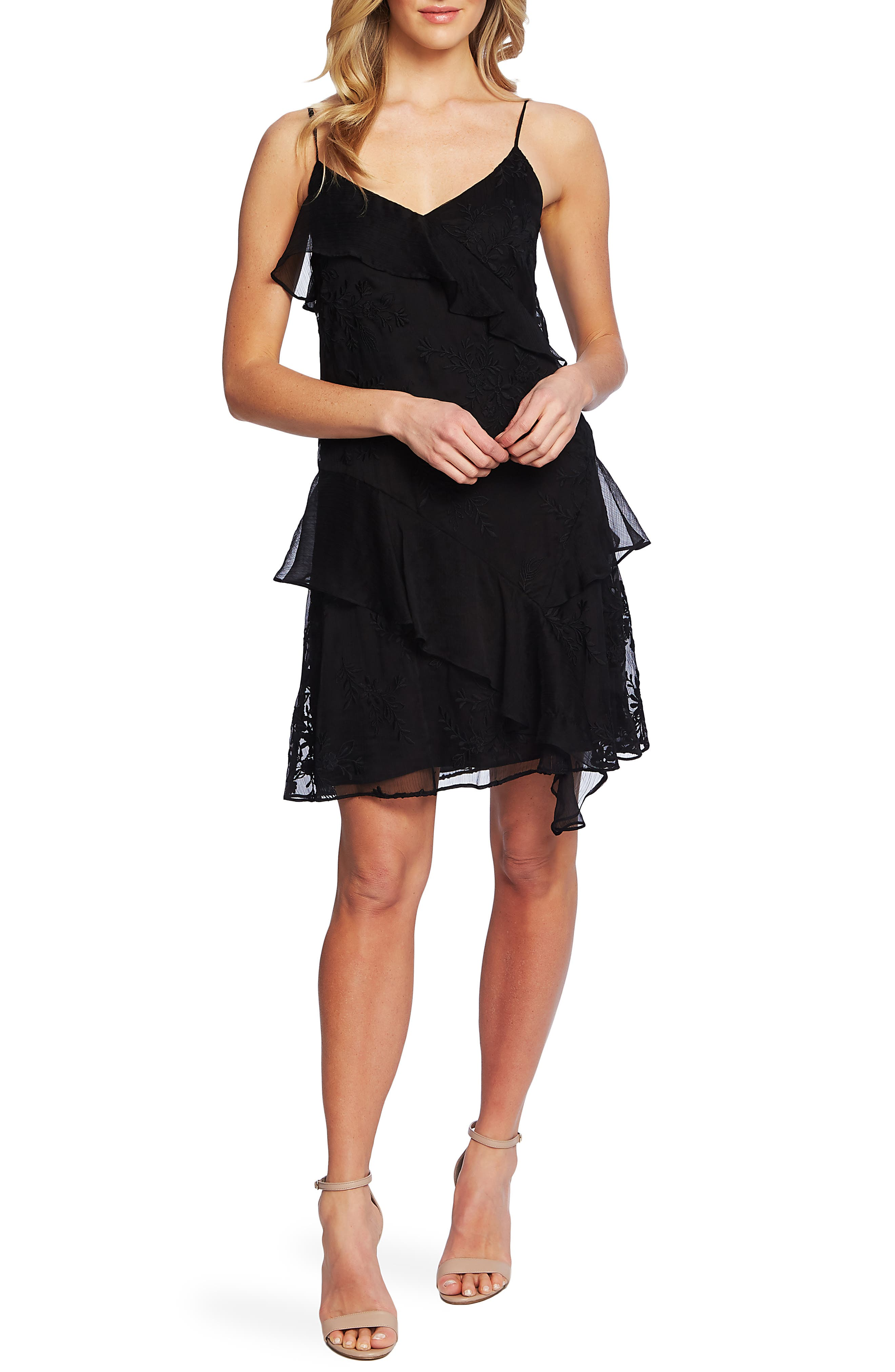Cece Embroidered Ruffle Dress, Black