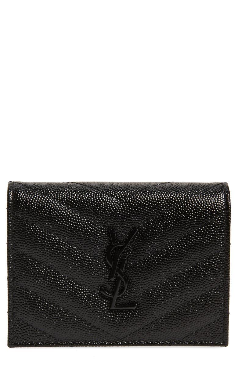 SAINT LAURENT Monogram Quilted Leather Flap Card Case, Main, color, NOIR