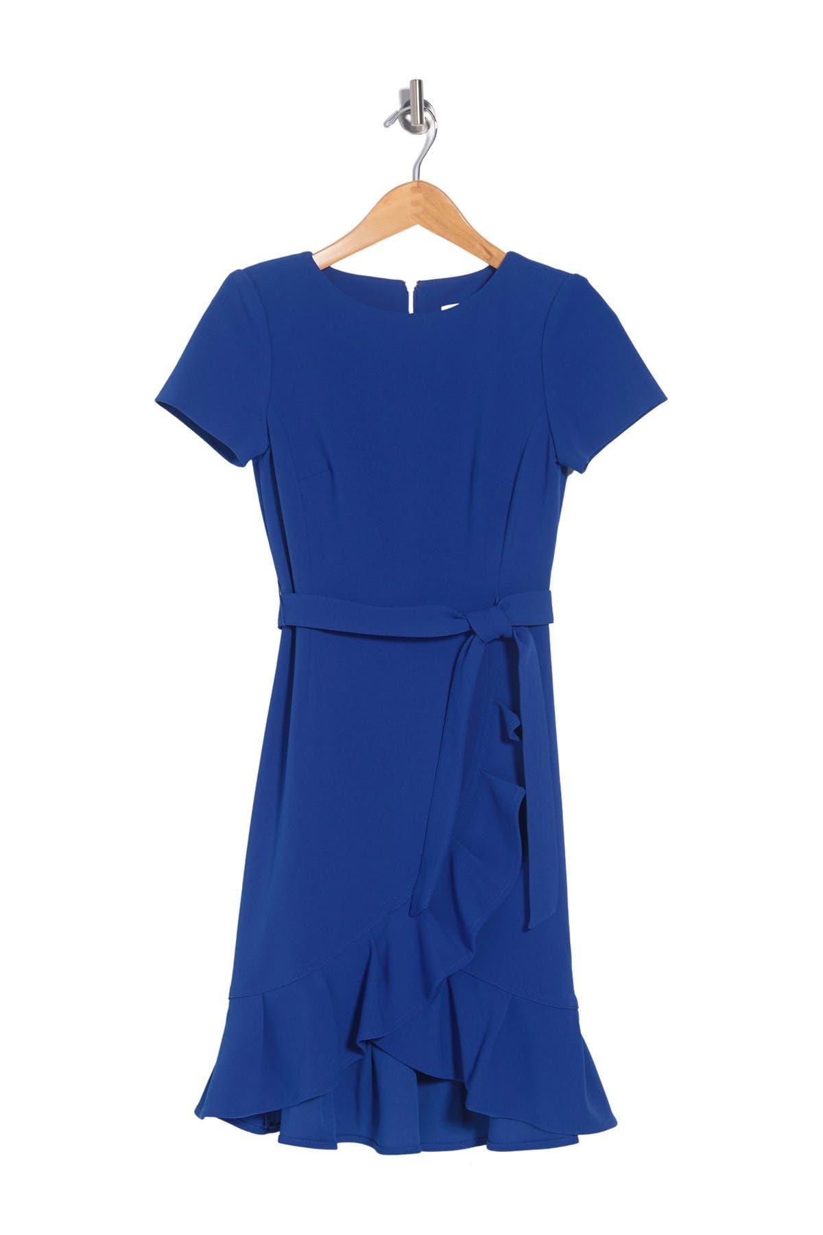 Image of Calvin Klein Ruffle Trim Waist Tie Dress