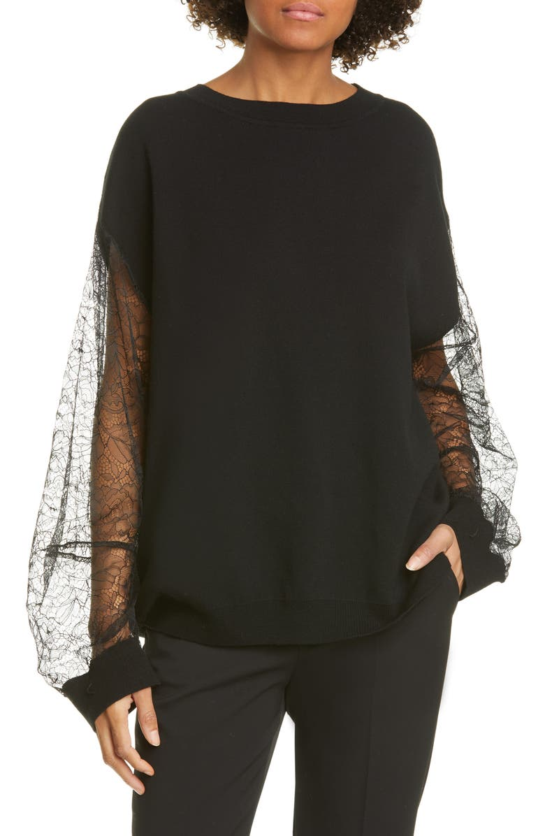 ADAM LIPPES Lace Sleeve Merino Wool Blend Sweater, Main, color, BLACK