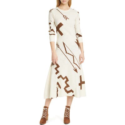 Polo Ralph Lauren Long Sleeve Knit Midi Dress, Beige