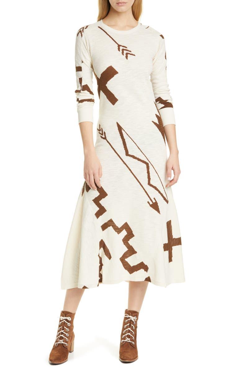 POLO RALPH LAUREN Long Sleeve Knit Midi Dress, Main, color, BEACON