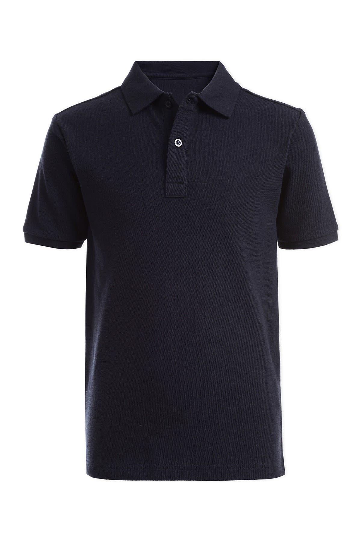 Image of Nautica Short Sleeve Double Pique Polo Uniform Shirt