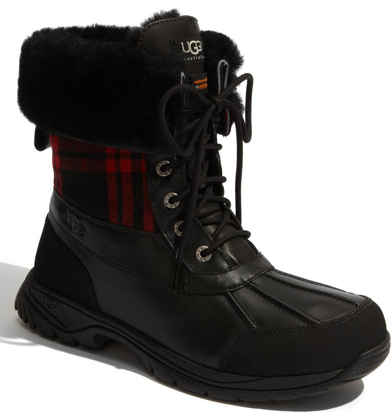 UGG<SUP>®</SUP> Butte Plaid Waterproof Boot, Main, color, 001