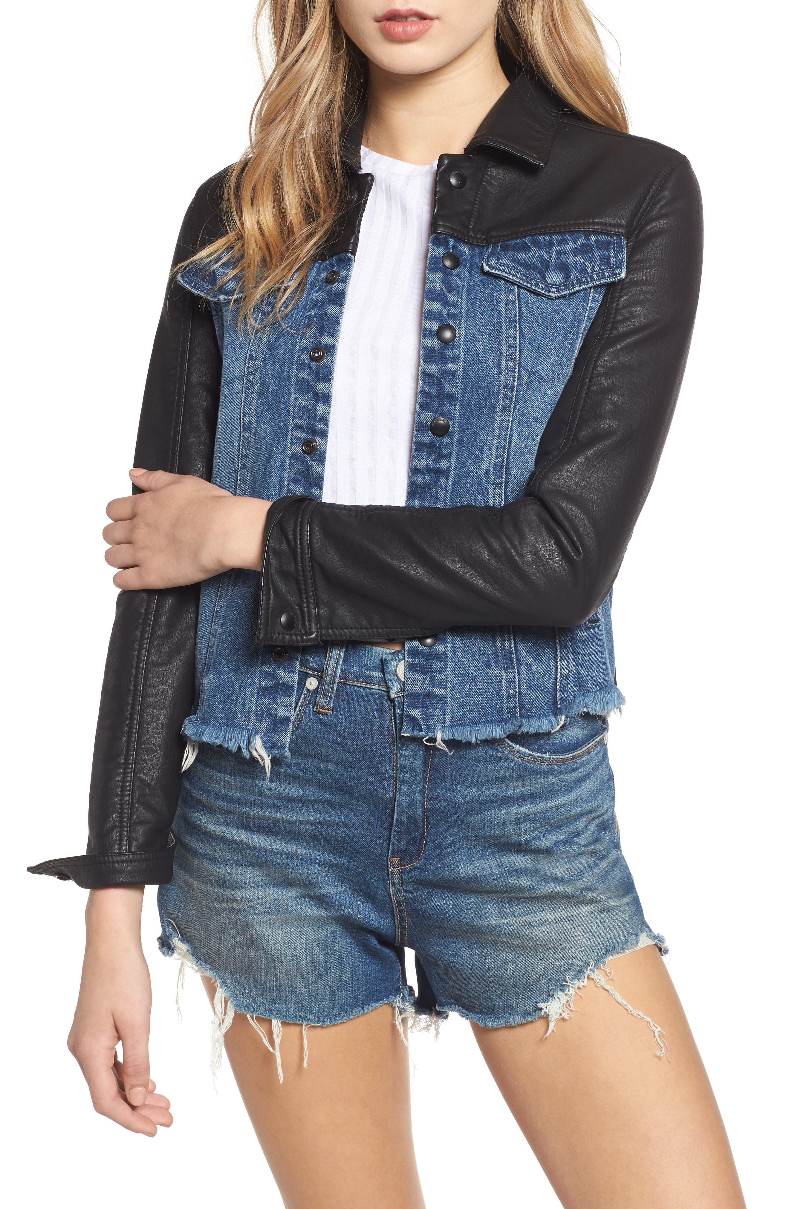 Faux Leather & Denim Jacket, Main, color, 001