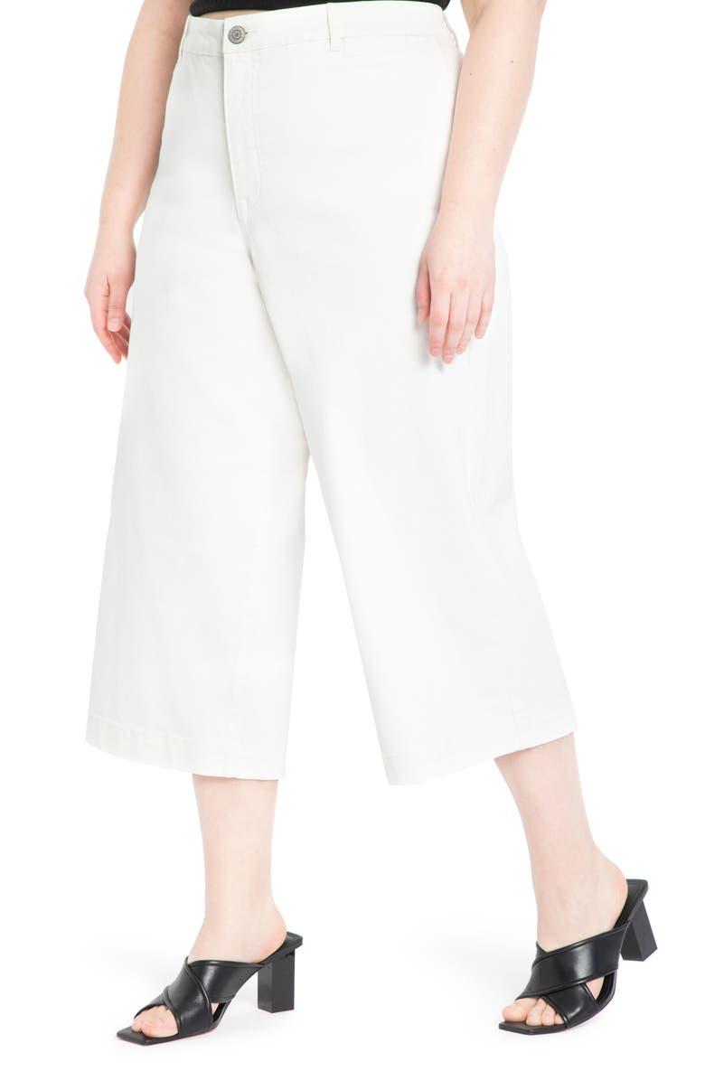 ELOQUII High Waist Crop Wide Leg Jeans, Main, color, 100