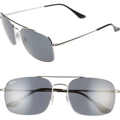 Ray-Ban 60Mm Aviator Sunglasses - Silver/ Blue Solid