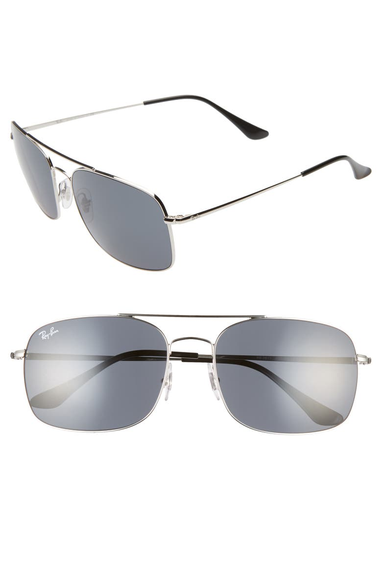 RAY-BAN 60mm Aviator Sunglasses, Main, color, SILVER/ BLUE SOLID