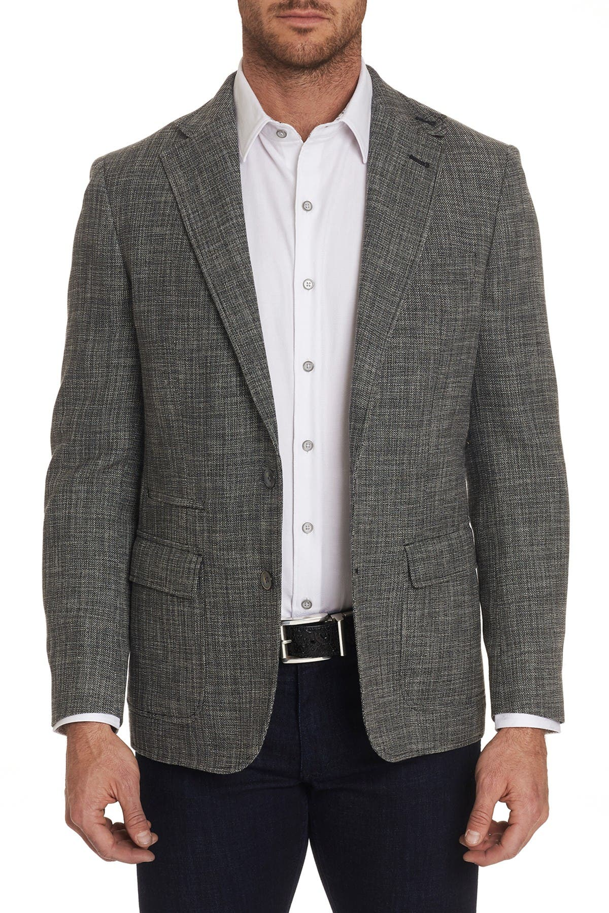 Image of Robert Graham Benton Black Woven Two Button Notch Lapel Tailored Fit Sport Coat