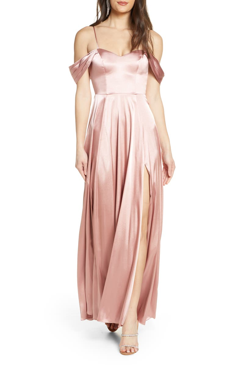 SEQUIN HEARTS Cold Shoulder Satin Evening Gown, Main, color, ROSE