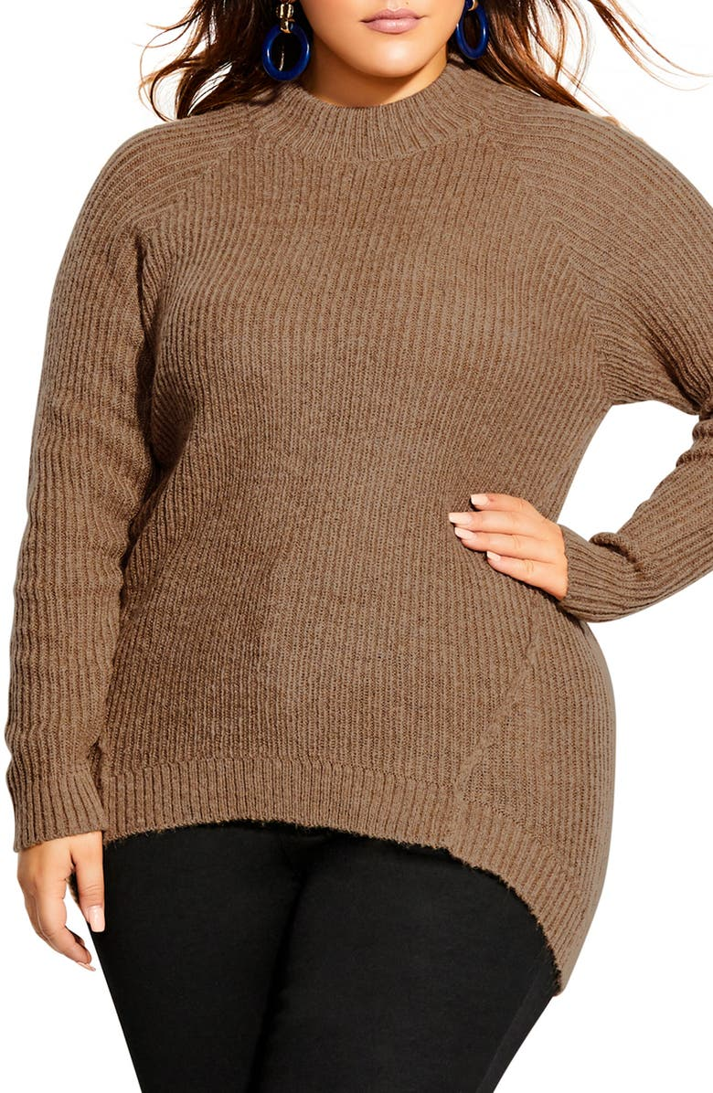 CITY CHIC Striking Rib Knit Sweater, Main, color, CARAMEL
