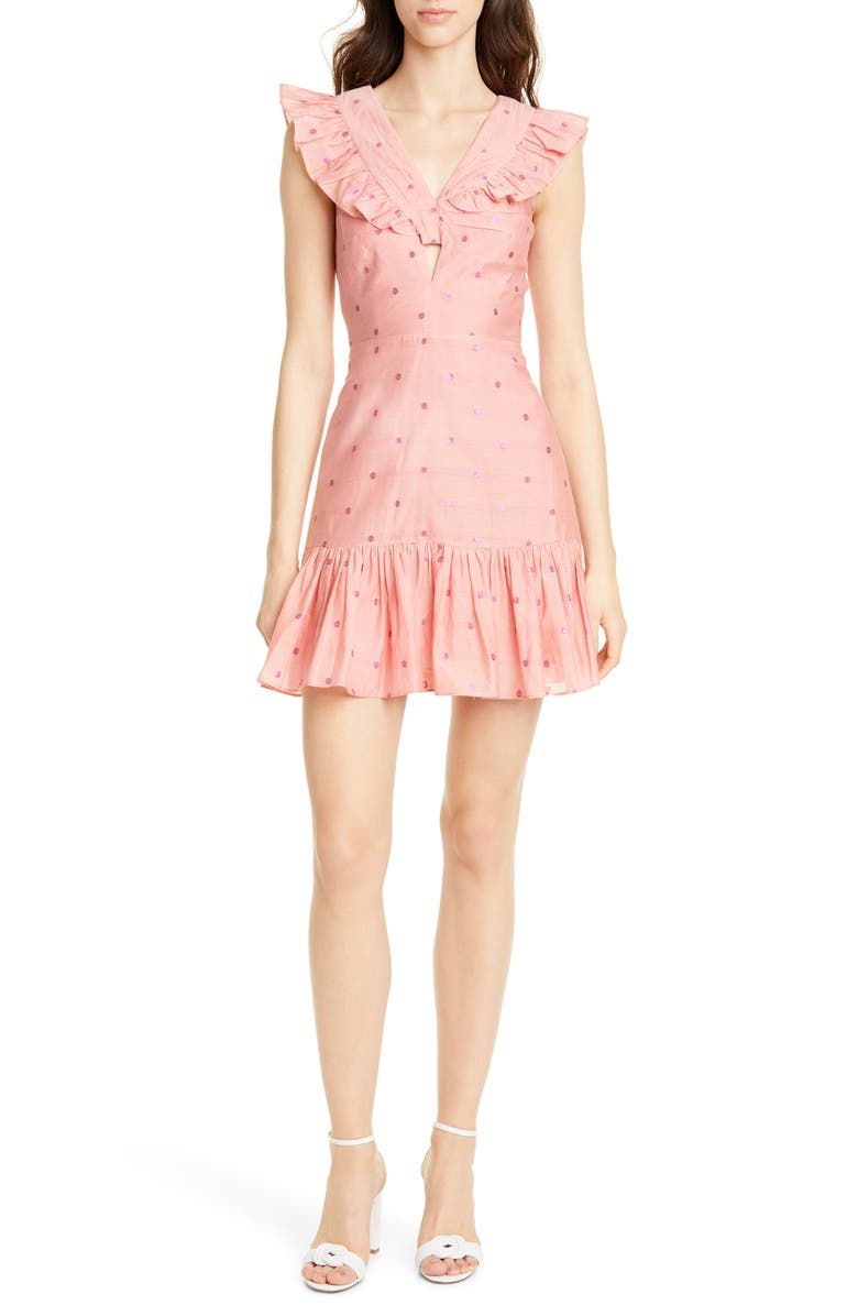 REBECCA TAYLOR Metallic Clip Dot Ruffle Detail Cotton & Silk Minidress, Main, color, CORAL COMBO