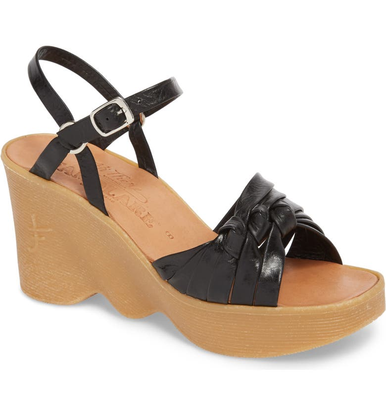 FAMOLARE Knot So Fast Wedge Sandal, Main, color, COAL LEATHER