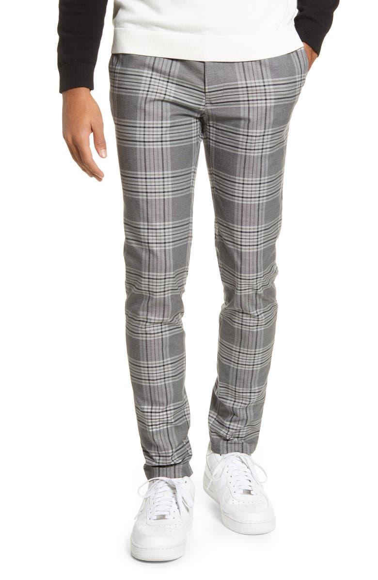 TOPMAN Check Skinny Fit Pants, Main, color, GREY MULTI