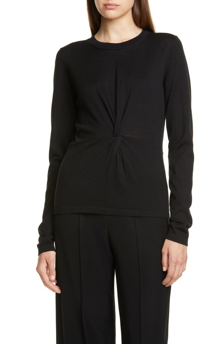 VINCE Twist Front Sweater, Main, color, BLACK