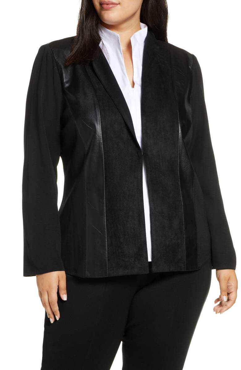 MING WANG Faux Leather & Suede Patchwork Jacket, Main, color, BLACK