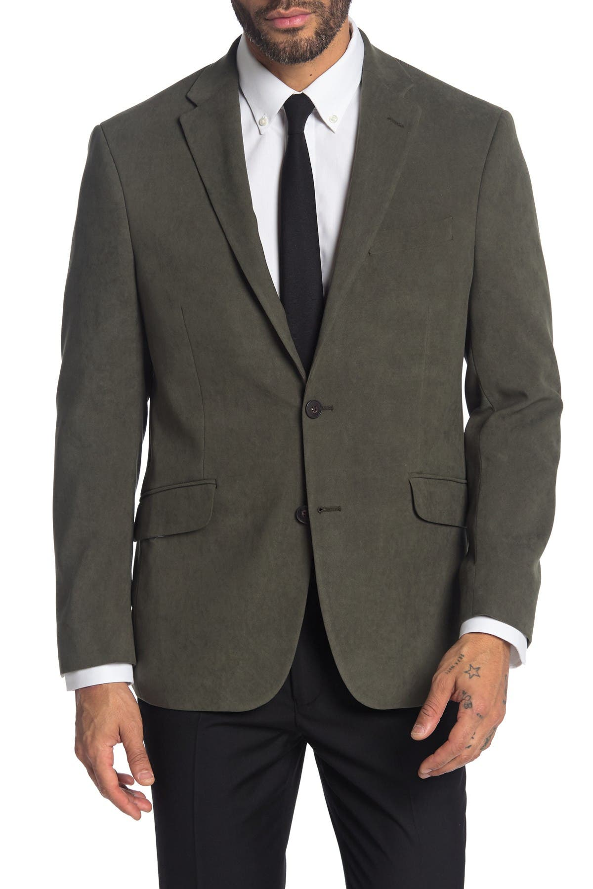 Image of Kenneth Cole Reaction Solid Front Two Button Blazer Jacket