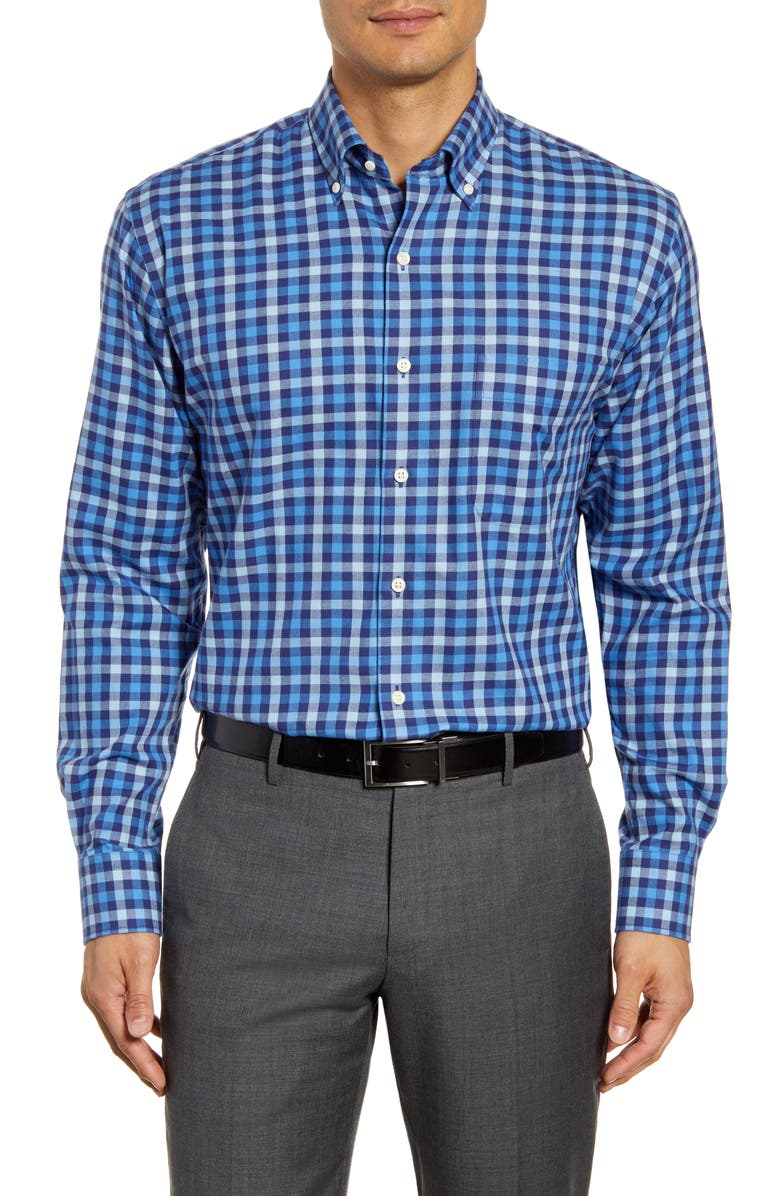 PETER MILLAR Moorland Regular Fit Stretch Cotton & Cashmere Check Button-Down Sport Shirt, Main, color, NAVY