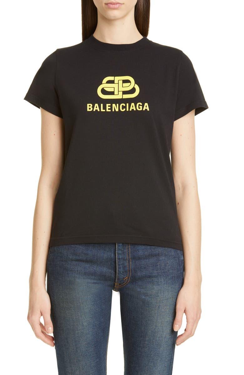 BALENCIAGA BB Logo Tee, Main, color, BLACK/ YELLOW
