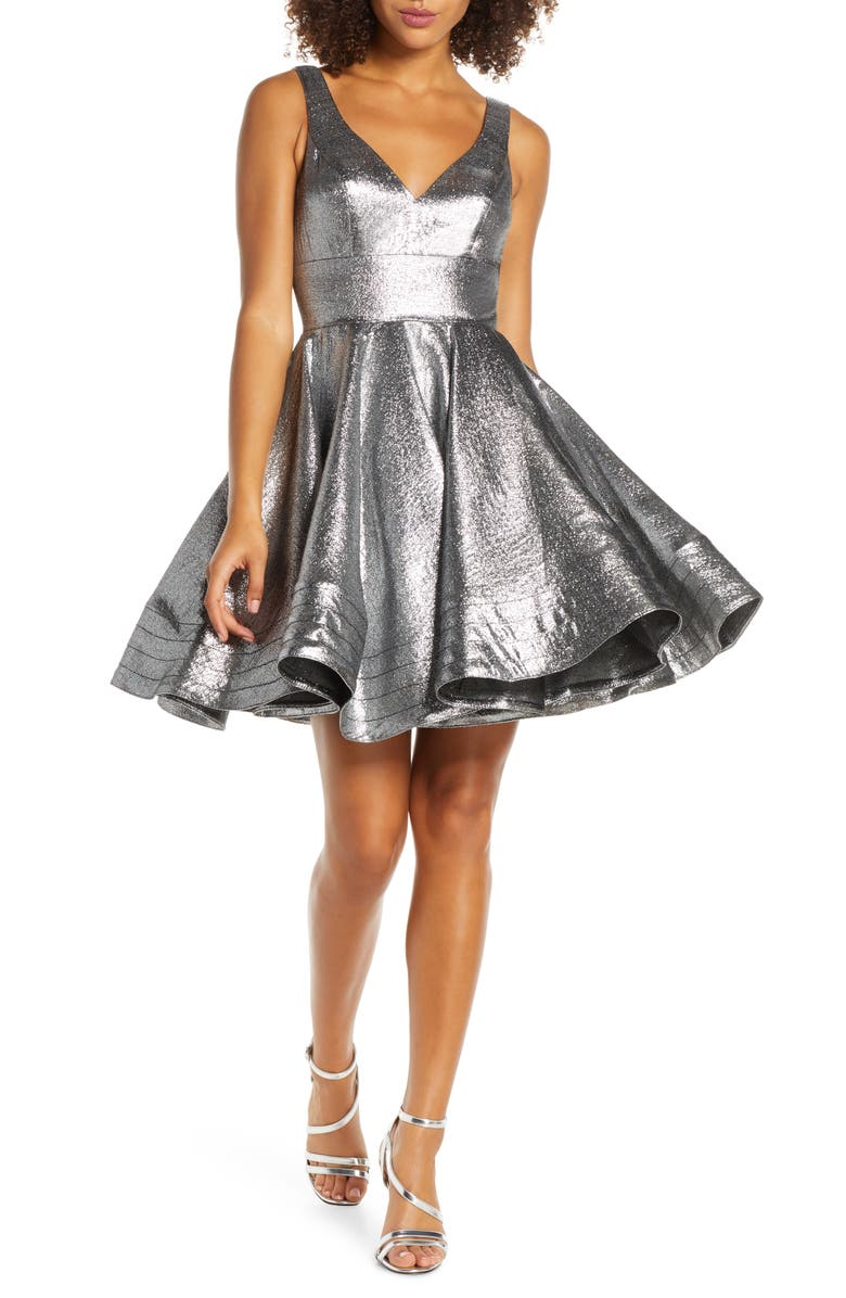 MAC DUGGAL Metallic Fit & Flare Cocktail  Dress, Main, color, STERLING