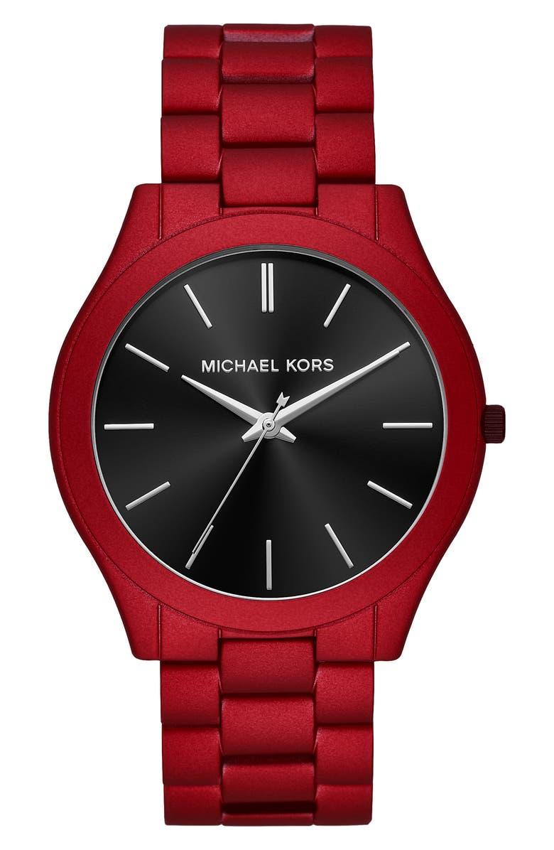 MICHAEL KORS Slim Runway Bracelet Watch, 44mm, Main, color, RED/ BLACK/ RED