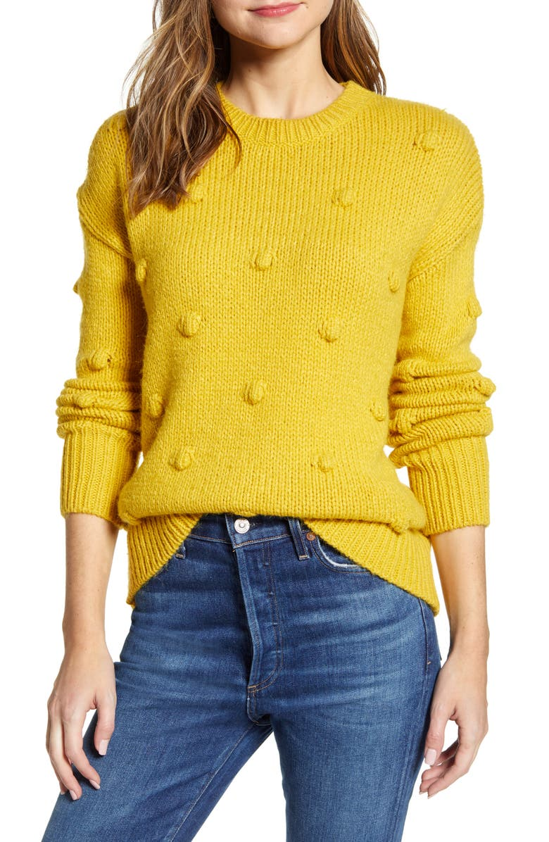 RD STYLE Puff Dot Sweater, Main, color, MUSTARD