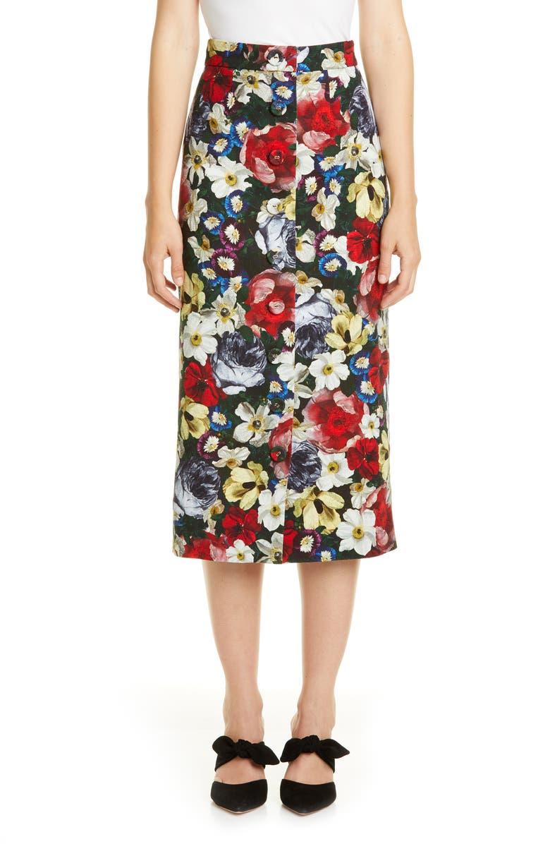 ERDEM Poppy Print Button Front Midi Skirt, Main, color, BLACK / MULTI