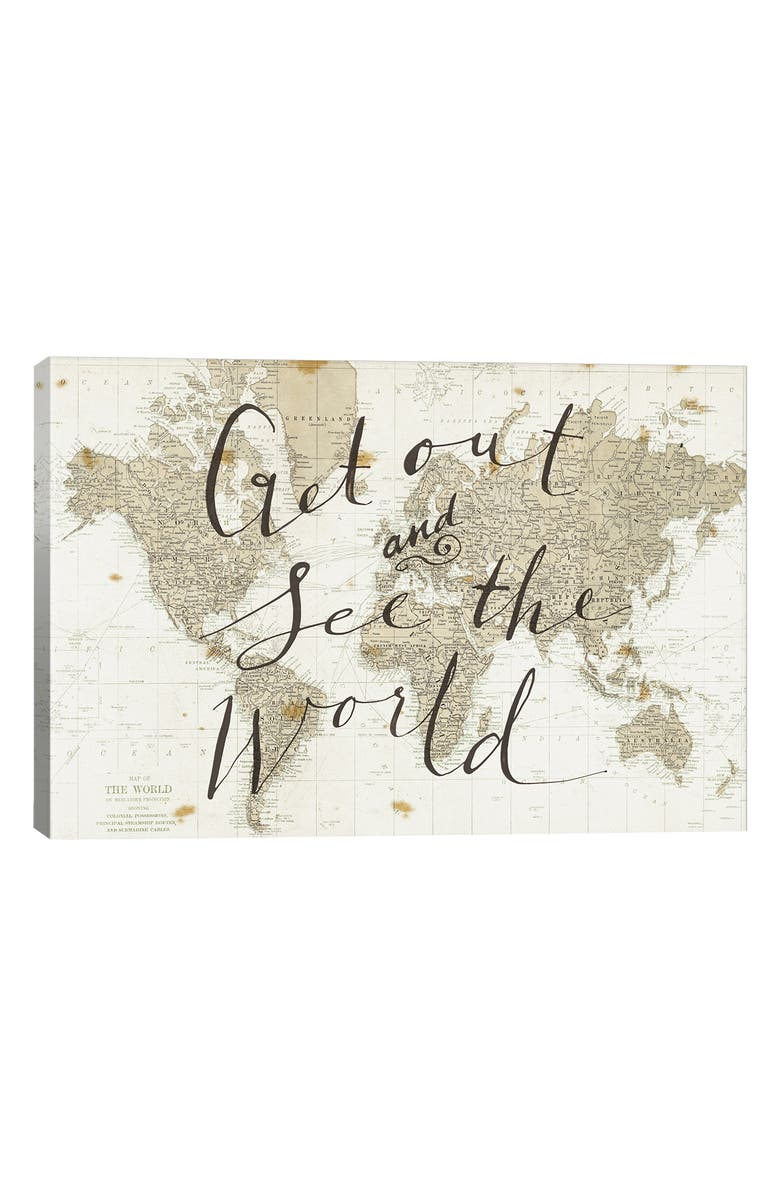 ICANVAS Get Out & See the World Giclée Print Canvas Art, Main, color, IVORY
