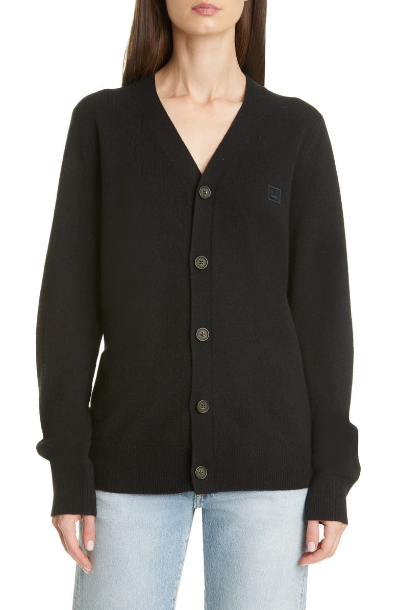 ACNE STUDIOS Keve Face Patch Wool Cardigan, Main, color, BLACK
